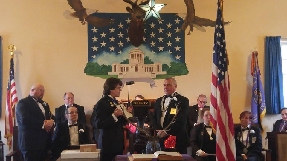 "Trustee Gary Mayberry receiving the ""Order of the Golden Wrench"""