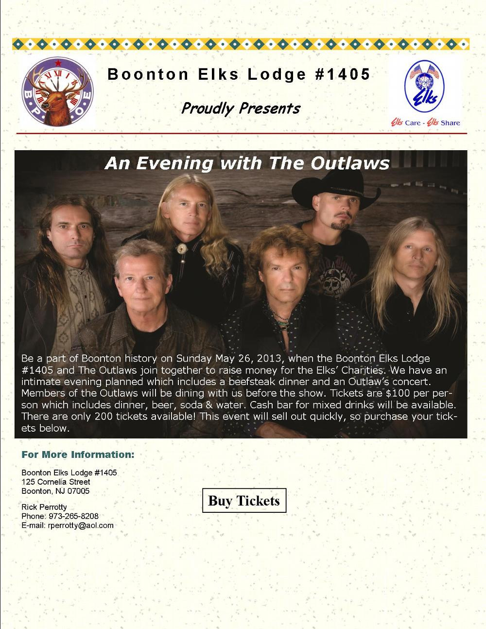 """The 2013 Flyer for the """"Outlaws"""".  A nationally renowned southern rock band that played at Boonton Lodge."""