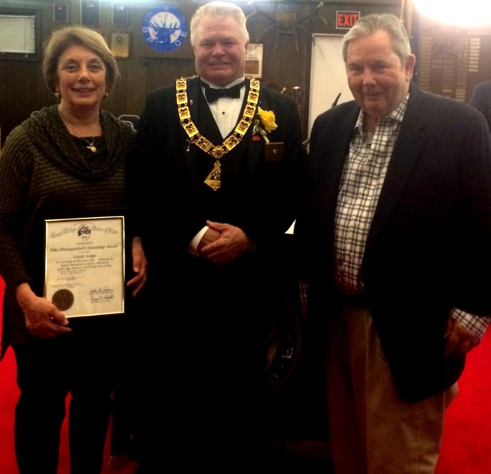 Hyannis Elks Lodge 1549 names Cyndy Jones of the Heroes' In Transition Organization, Citizen of the Year for 2014-2015! Cyndy founded HIT to honor their son Eric, who made the ultimate sacrifice for his country. HIT helps to provide home modifications for disabled veterans,Transitional Support Group Therapy,Financial support for service families and Assistance dogs for veterans.  Thank you Cyndy for all you do!