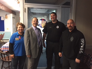 Donna Medeiros, PER with member & State Rep. Will Crocker, Barnstable Police K-9 officers Kevin Fullam and Jeff Jackson