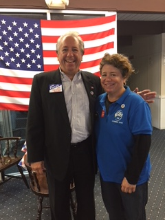 Dr. John Flores, Barnstable Councilman with Donna Medeiros, PER Hyannis Lodge of Elks #1549