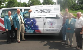 Proceeds from our 2008 Golf Tournament were used to purchase a van to transport Veterans to medical appointments and facilities.  Shown are, L to R, E.R. Tom Daily, Golf co-chair Pete Magnuson, DAV chief of transportation, Golf co-chair Artie Orlowski, and member Skip Heaney, a major supplier of auction prizes.