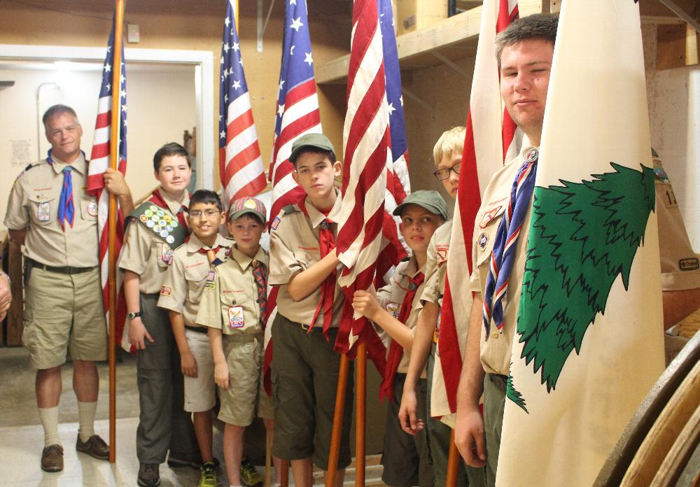 Auburn Lodge 1691 Elks Flag Day Ritual 2015 Boy Scout Troop 13 Participate In Carrying the Historical Flags Getting Ready