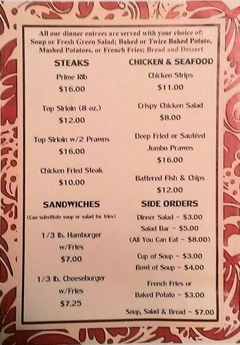 Elks Org Lodge 1814 Dinner Bar Menus