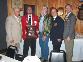 A 100 years of service plaque was presented to Okmulgee Lodge. Pictured are,from left, Dale Sibert, Dist. Deputy, SE Dist, John Hayes, ER, Steve Williamson SE Dist VP, Jim Craycraft State President and Milard Pickering, State President Elect.