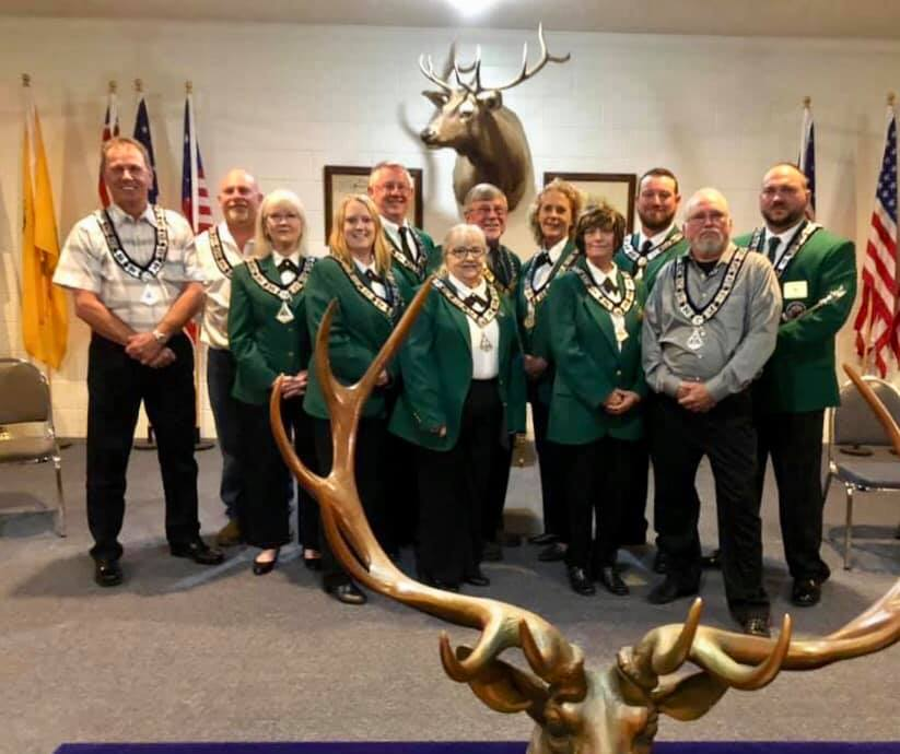2019-2020 Lodge Officers, Trustees Benjye Tuten, Darin Anderson, Treasurer Sylvia Ellanson, Chaplain Nikki Anderson, Leading Knight Kevin Cruce, Secretary Earline Neeley, Exalted Ruler Clayton Huff, Loyal Knight Babbs Radcliff, Inner Guard Darnell McLeod, Lecturing Knight Paul Miller, Jr, Trustee Kenny Carter, Esquire Eric Hodge.  Not shown Tiler Helen Farnell and Trustees Wayne Connell and Mike Lynn