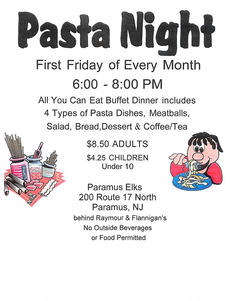 Pasta Night Every 1st Friday of the Month