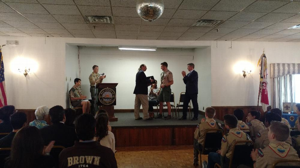 Eagle Scout Certificate being awarded by PER Lew