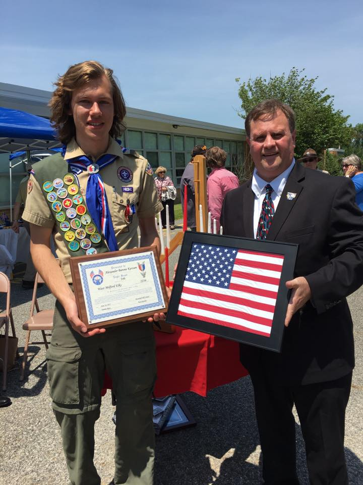 June 2017 - WM Elks Ken Hensley presents Alex Kerssen the American Flag and a plaque during Eagle Court of Honor Ceremony