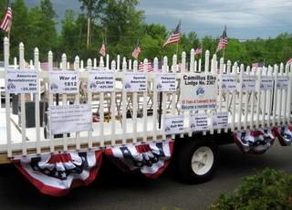 The float is ready to go. Members walk or ride on the float to participate in the Memorial Day Parade. Following the parade,the Lodge holds a chicken BBQ. 5/19