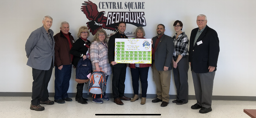 PER Lee Ireland, Trustee Stan Chesneski, Secretary Cheryl Chesneski, Lecturing Knight Joe Andrews and Treasurer Bob McIntyre present 30 - $25.00 Walmart gift certificates to he Administration at Central Square School District. The donation was made possible by an ENF Gratitude Grant. (December 2018)