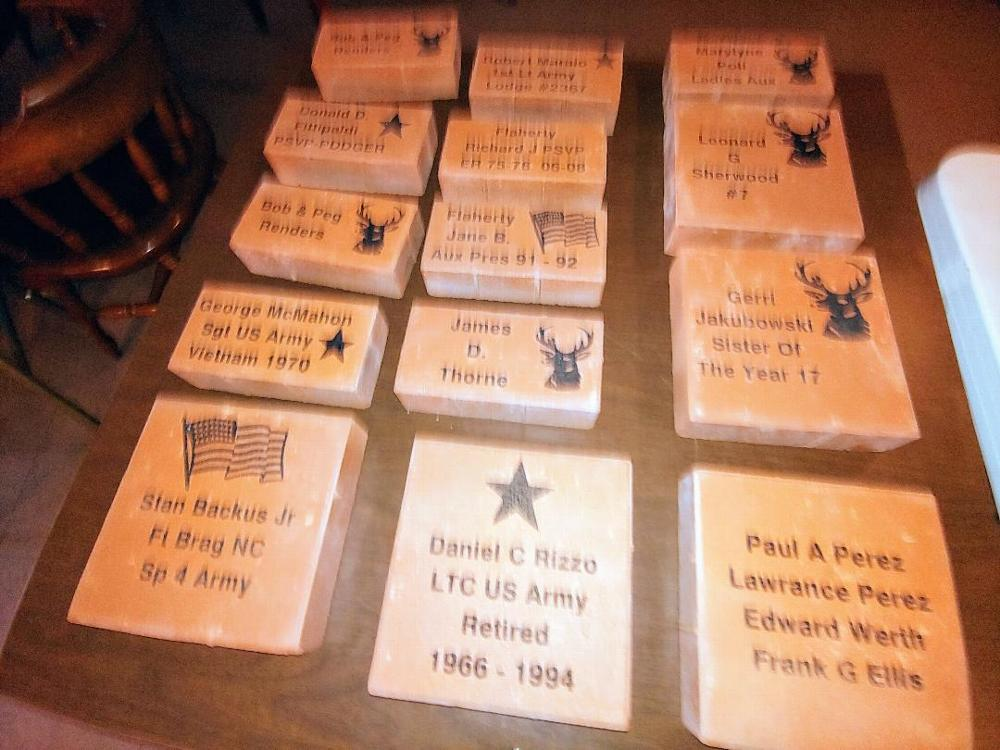 As a way of honoring our members and their immediate families (spouses of children), The Camillus Elks Lodge is establishing a Memorial Garden. The initial order of bricks has arrive.  Several imprint options are available. Order forms are available at the Lodge. December 2019