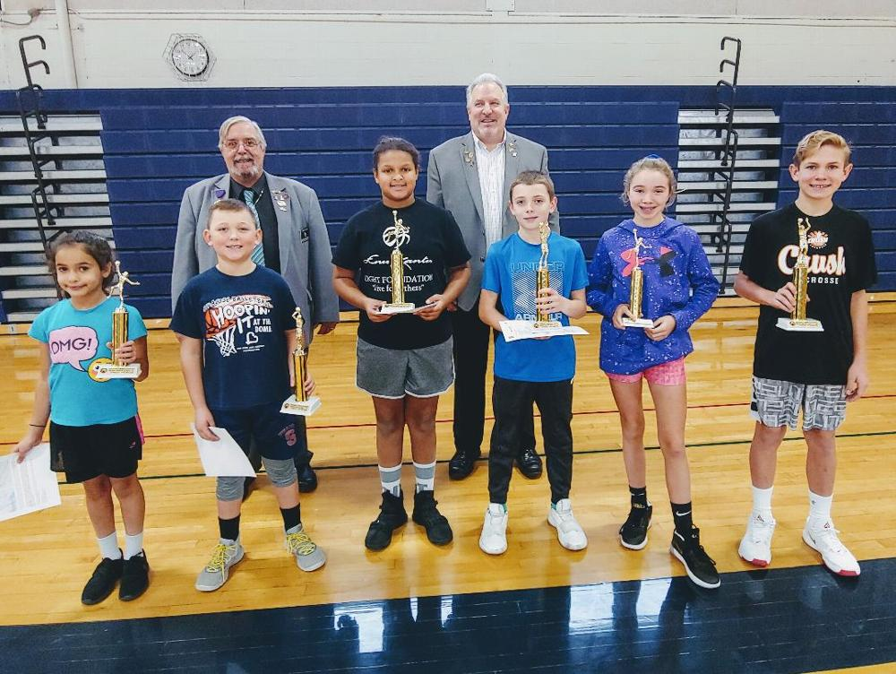 The Hoop Shoot on 12/7/19 was another success. Winners are shown along with Hoop Shoot Chairman Tom Kinsella (PER/Esquire) and Larry Gillette. Winners left to right are: (girls 8-9) Dena Hussein, (boys 8-9) Parker Vienne, (girls 10-11) Amyah MacNail, (boys 10-11) Colin Straub, (girls 12-13) Megan Tyler, and (boys 12-13) Charlie Lockwood.