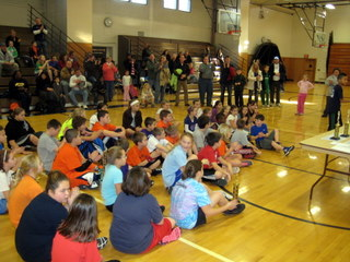 Students and parents gather in West Genesee high school gymnasium for the awards ceremony at the 2011-2012 Lodge Hoop Shoot.