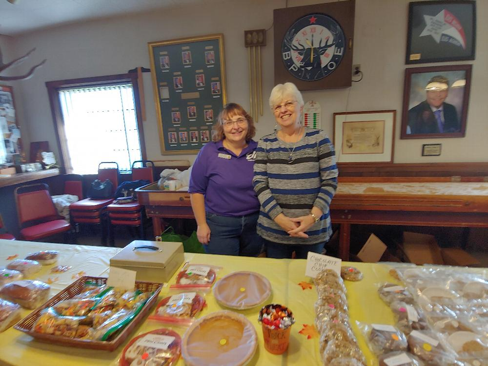 Auxiliary Secretary Sue Stamp and Treasurer Barb Canty show off some of the delicious baked goods offered at the Auxiliary's craft show and bake sale. (10/19/19)