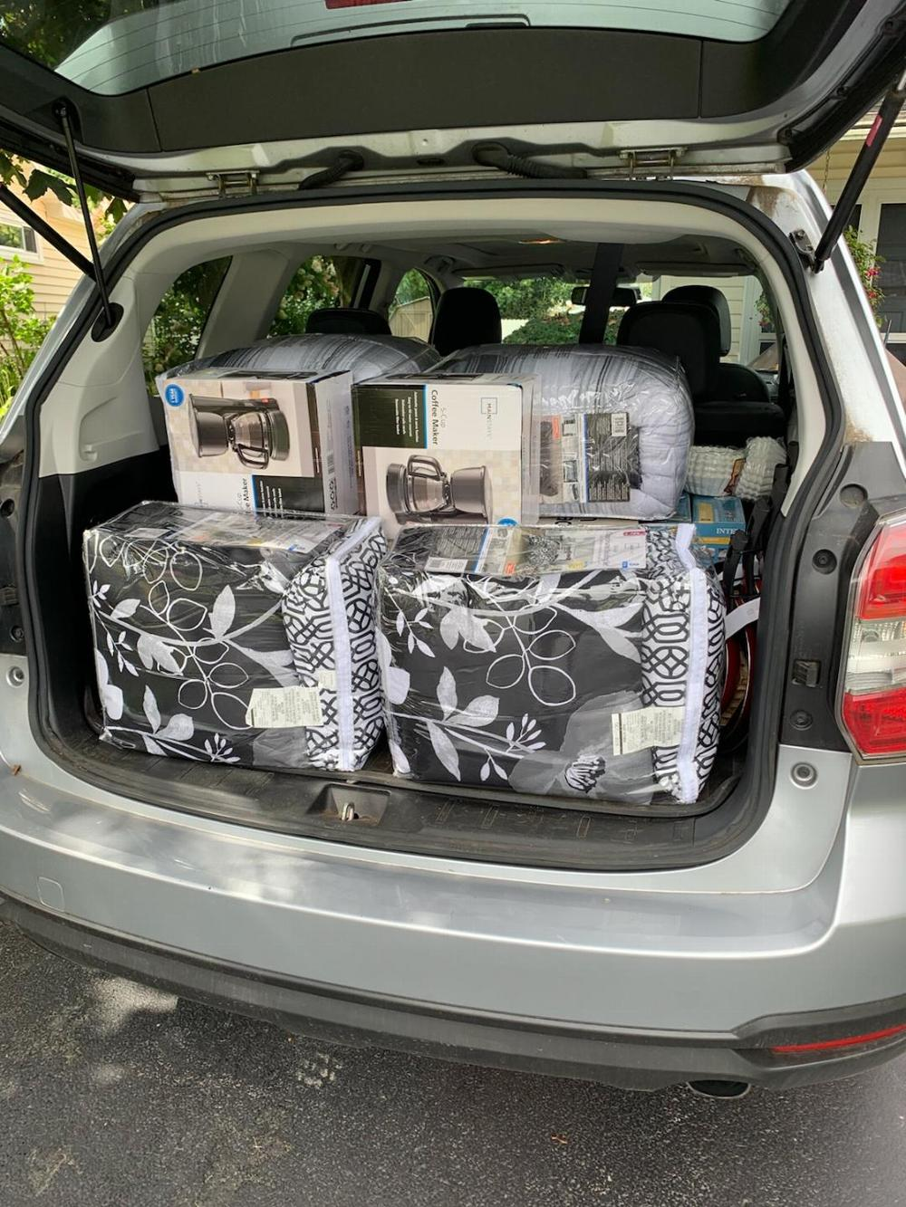 One of many trunk loads of goods supplied to the vets re-homing project. By mid-December 2019, the Lodge had assisted in re-homing over 140 homeless vets.