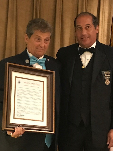 Exalted Ruler, Denise Brucato holding Lodge Proclamation presented by SDGER, Francis J. Decibus, Woodbridge Lodge #2116