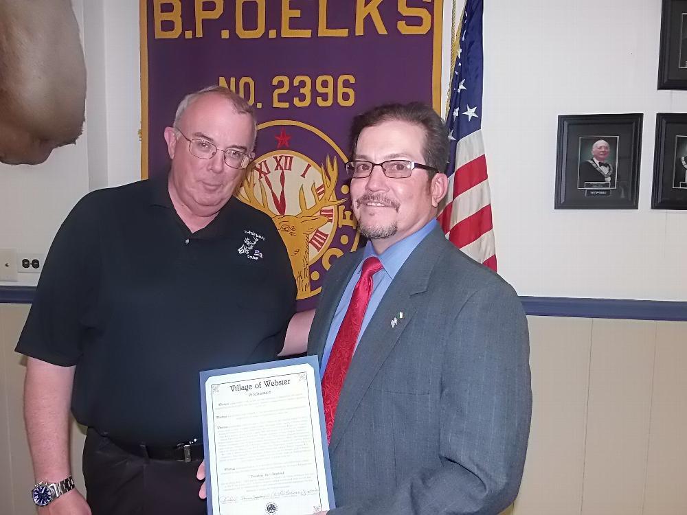 Webster Mayor Darrell Byerts presentation to the Webster-Fairport Elks