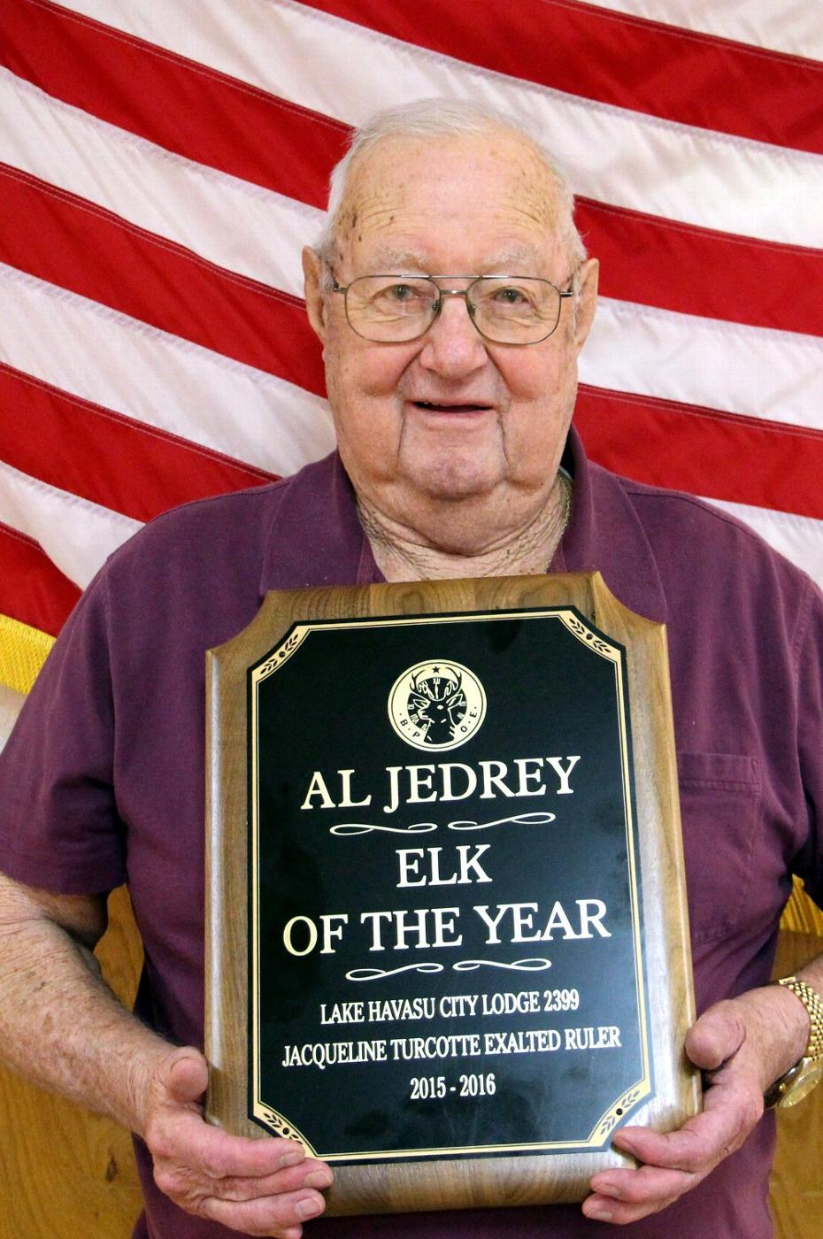 Al Jedrey wins Elk of the Year Award. A well deserved recognition as Al along with his wife Kay, have done a great job of decorating our Lodge for many years. Congratulations Al and Kay!