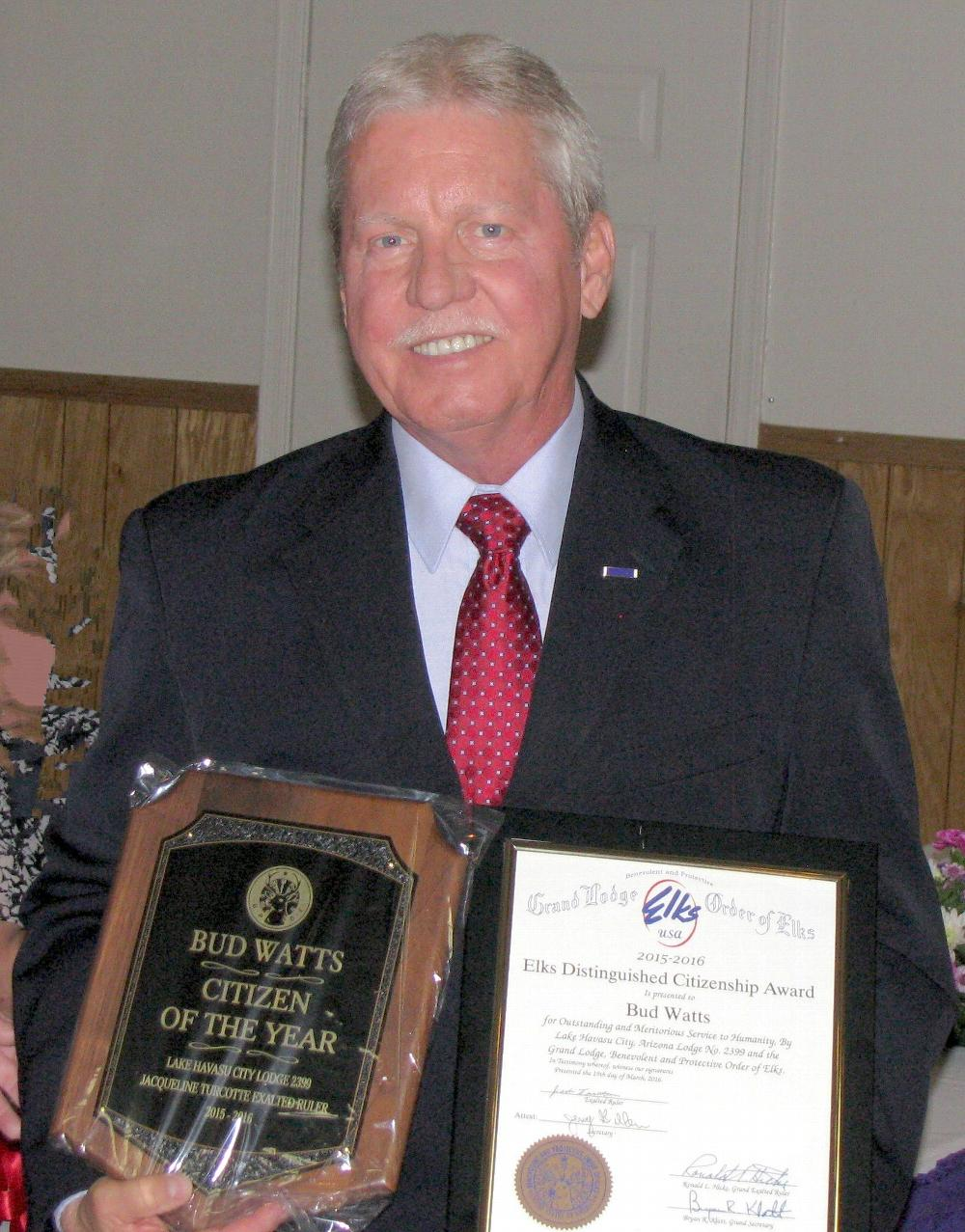 Bud Watts wins Citizen of the Year Award. Bud joins an elite group with this award and he certainly deserves recognition for the many hours he has contributed to the Marine Corps League, as Elks Veterans Chairman, and the Disabled American Veterans to name a few of his good citizenship activities.