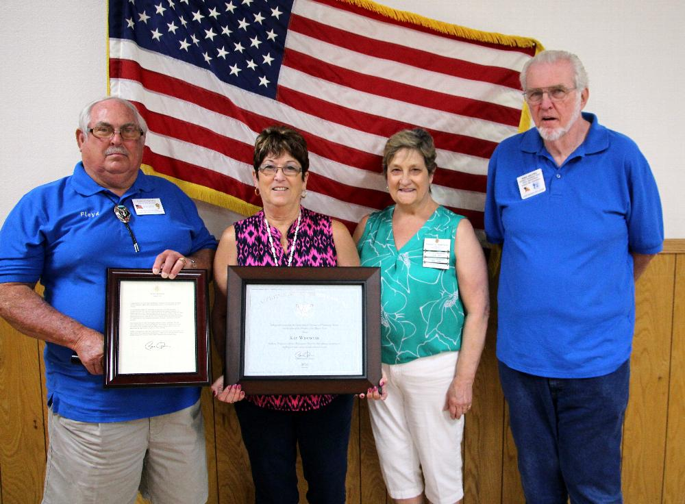 Kay Wdowiak receives Presidential Lifetime Achivement Award for her many hours of volunteer service to our Lodge and Community. Congratulations Kay! Pictured L to R ER Floyd Davis, Kay, Paulette Nainteau, Elkettes Pres,  Mike Arlowe,Drug Awareness Chairman.