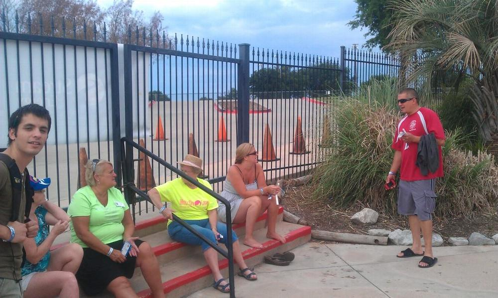 """Elks Members and Families wait for homeless children and families from Captain Hopes Kids to arrive at Hawaiian Falls to enjoy a """"Splash for Kids"""" day, sponsored by ENF and our Gratitude Grant of $2000!"""