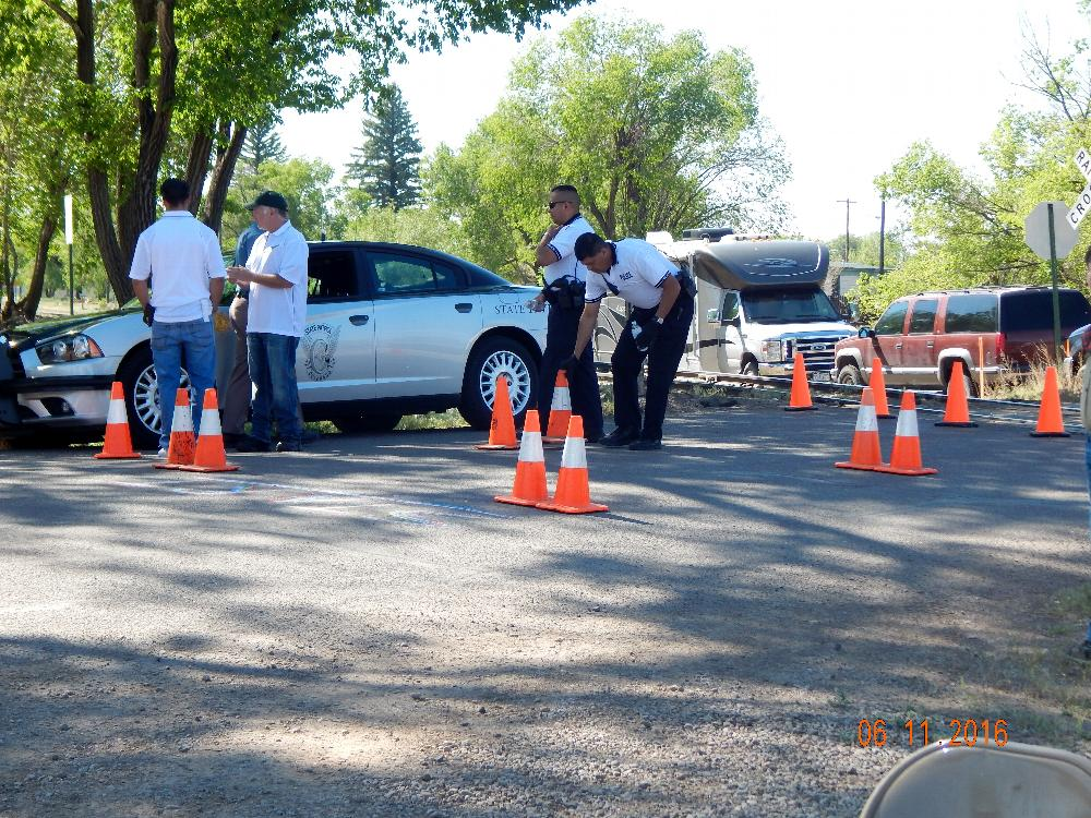 Police officer set up Obstacle course.