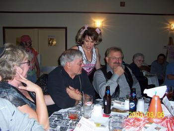 'Lona Carr' lectures 'former classmates' at Ladies Auxiliary Comedy Murder Mystery Dinner