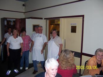 Members of Ladies Auxiliary and Elks served over 100 attendees at Comedy Murder Mystery Dinner