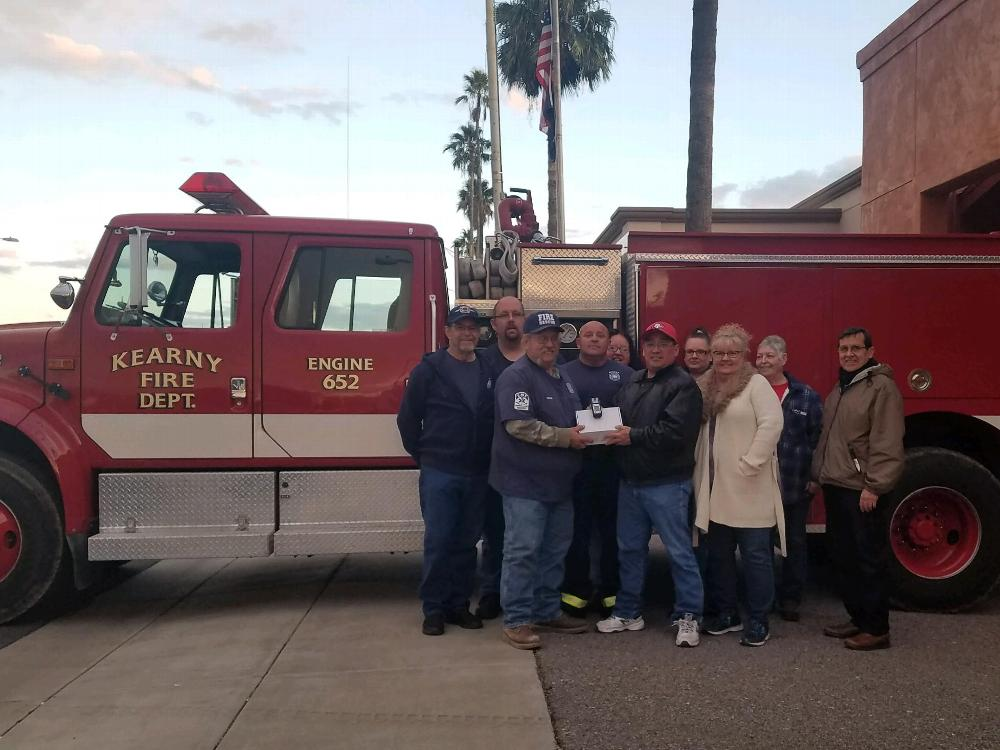 """Kearny Volunteer Fire receives a """"multi-gas detector"""" from the members of the Kearny Elks Lodge, courtesy of the ENF Anniversary Grant."""