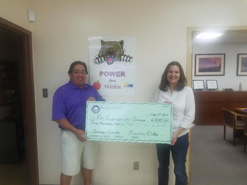 Kearny Elks donate $250 for classroom supplies to Ray Schools