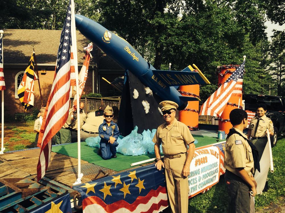 Severna Park Elks July 4th Float in Severna Park Parade 2014.  Won 1st Place Patriotic Float.