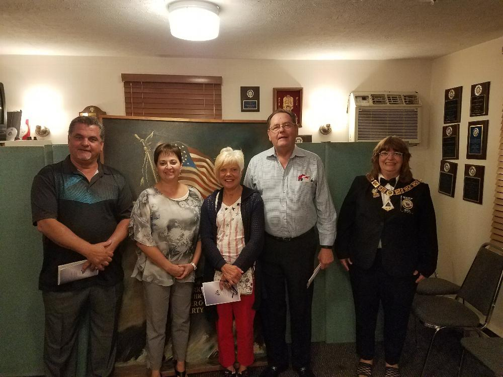 Welcome new members initiated on September 12, 2012. Pictured Sonny, Darra, Maryann, Fred and Exalted Ruler Diana.