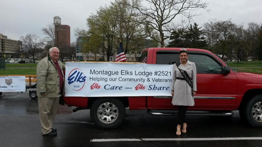Miss Massachusetts and Kevin Hastings at the Ice Stars for Wounded Warriors parade. Amherst 4-26-14.