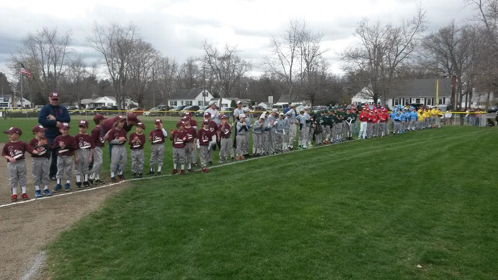 2014 Newt Guilbault baseball teams opening day ceremony 4-27-14. The Elk's team is in Blue.