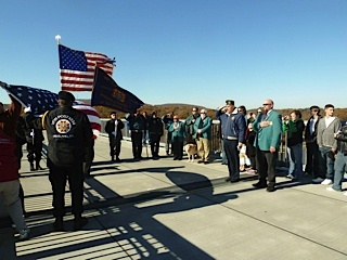 Monthly Flag changing ceremony at the Walkway over the Hudson(WOTH) State Park on a cold November morning 2011