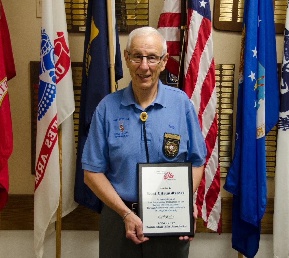 At the Florida State Elks Convention in May, Tony Schiappa, Exalted Ruler, accepted an award for having a positive growth in membership for the past 13 consecutive years.