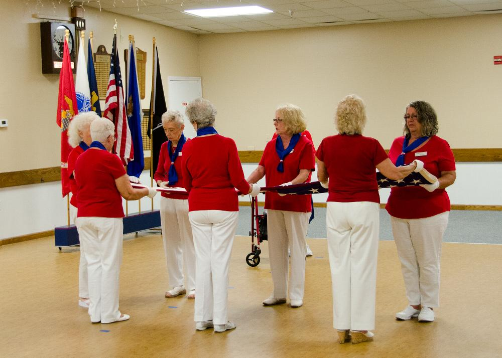 Ladies of the Elks Flag folding ceremony. Each fold, and its meaning is described.