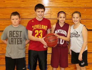 The Sebasticook Valley Elks Lodge held its annual Hoop Shoot on Dec. 14, 2014 at Maine Central Institute's Wright Gymnasium where youngsters in different age categories had an opportunity to demonstrate their free-throw expertise on 25 foul shots. Pictured, from left, are winners Logan Cote of Pittsfield (boys 10-11), Cody Marquis of Pittsfield (boys 12-13), Maya Cooney of Palmyra (girls 10-11) and Peyton Grant of Newport (girls 12-13). The next round of competition will be the Maine North Regionals at the James F. Doughty Middle School in Bangor on Sunday, Jan. 11 at 10 a.m.