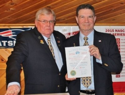 Incoming Exalted Ruler Mike Lange, right, was honored with a Grand Lodge Outstanding Service Commendation by Exalted Ruler Dennis Bragg