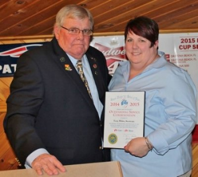 Terry White, right, was presented with a Grand Lodge Outstanding Service Commendation by Exalted Ruler Dennis Bragg.