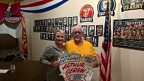 "Exalted Ruler Sandee Olding congratulates Phoenix West Elks Trustee Arthur Gerow upon his return from his military ""Honors Flight"" to Washington D.C. where he visited the  national war memorials there.  Artie was especially honored during his trip in recognition of his 86th Birthday celebrated during the week long journey.  A long time member of the Phoenix West Elks Lodge, Artie serves as 3rd Year Trustee and is a proud Army Veteran of the Korean War."