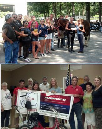 Using our 2012 Gratitude Grant to make donations to Chariot Riders and AmBuc's.