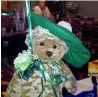 This is our Lounge mascott Soldier Bear he sings God Bless the USA when you press his hand. Here he is decorated for Saint Patrick's Day. Thank You Butch and Barbara Ward we Love him.