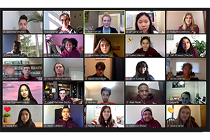 The Top 20 gather on Zoom.